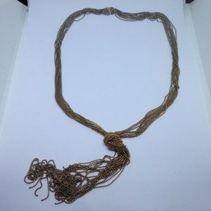 silver/gold tone fine ball chain fringe necklace